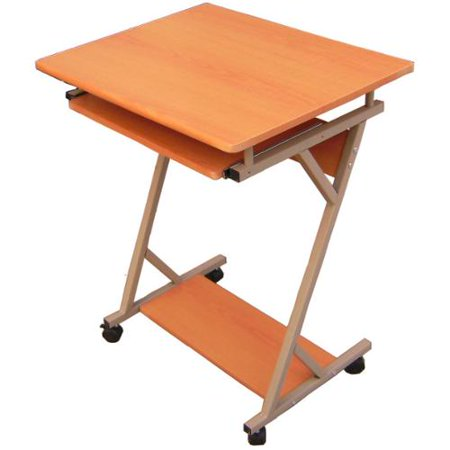 Hodedah import rolling metal frame wood top laptop desk for Metal desk with wood top