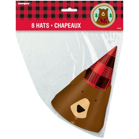- Buffalo Plaid Bear Lumberjack Birthday Party Hats, 8ct