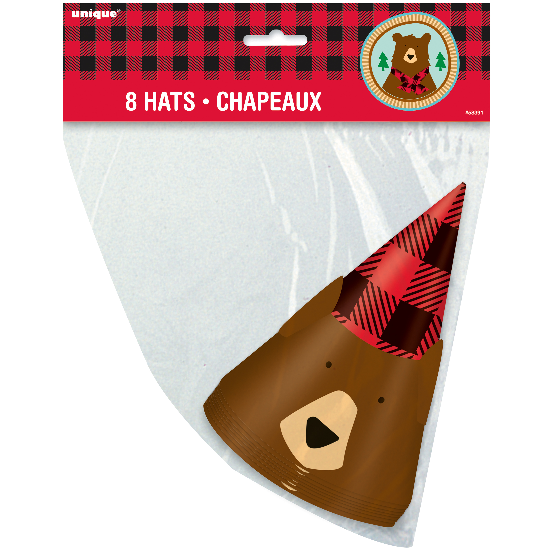 Buffalo Plaid Bear Lumberjack Birthday Party Hats, 8ct