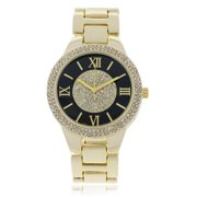 Rhinestone Roman Numeral Accent Link Watch Rose Gold