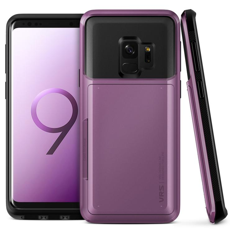 galaxy s9 case by vrs design, damda glide wallet card cover - lilac purple