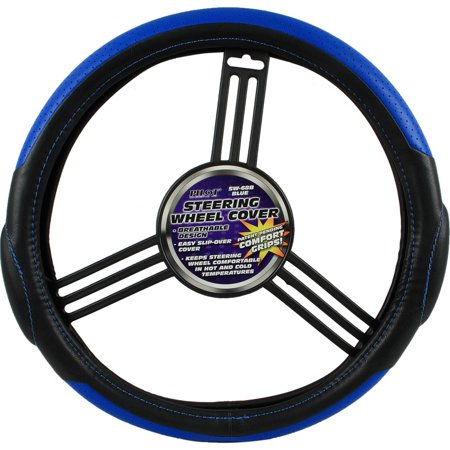 Racing Style Car Auto Steering Wheel Cover - Blue/Black (Rich comfortable feel)
