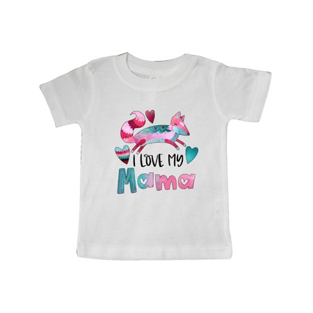 I Love My Mama Pink and Blue Fox with Hearts Baby T-Shirt