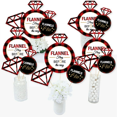 Flannel Fling Before The Ring - Buffalo Plaid Bachelorette Party Centerpiece Sticks - Table Toppers - Set of 15](Bachelorette Centerpieces)