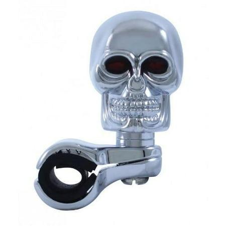 Universal Die - Chrome Die Cast Skull Steering Wheel Spinner Suicide Knob / Universal Bracket