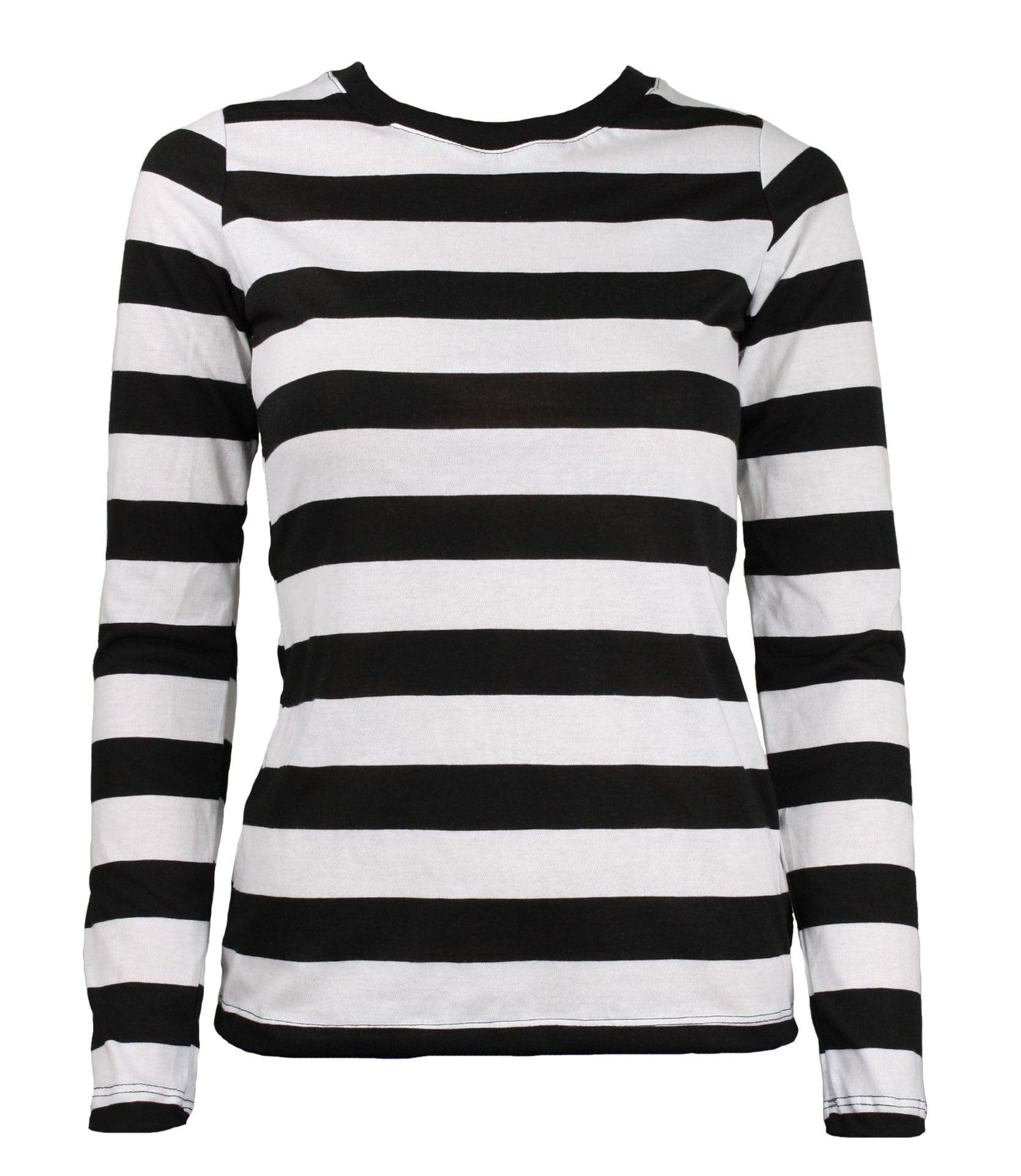 Tragic Mountain Long Sleeve Black White Striped Women S Shirt Medium Walmart Com Walmart Com