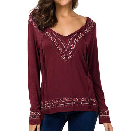 ZXZY Women Boho Long Sleeve V Neck Solid Color Tops T-shirts