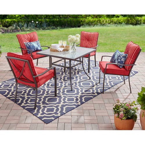 Mainstays Forest Hills 5 Piece Outdoor Patio Dining Set Red Walmart Com Walmart Com