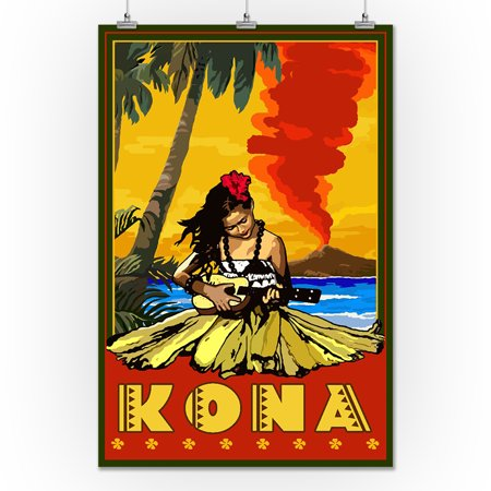 Kona, Hawaii - Hula Girl & Ukulele - Lantern Press Artwork (24x36 ...