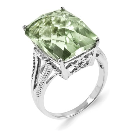 925 Sterling Silver Rhodium Octagonal Checker-Cut Green Quartz Ring - image 3 of 4