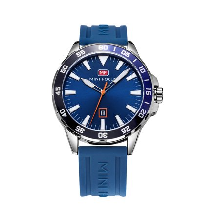 Mens Quartz Watch Blue Silicone Belt Time Calendar Design Date Display for Friends Lovers Best Holiday Gift