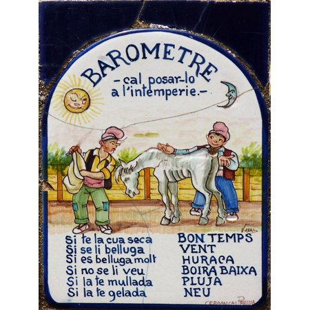 Canvas Print Barometer Tile Humor Crafts Folk Art Stretched Canvas 10 x 14 (Folk Art Halloween Crafts)