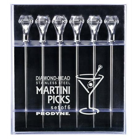 Prodyne DIAMOND-HEAD Martini Picks, Set of 6 Colorful Martini Picks