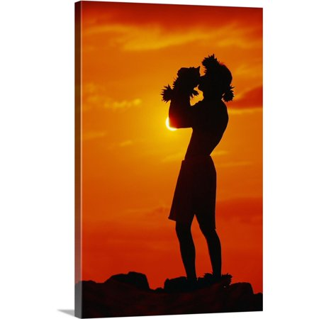 Great BIG Canvas | Ron Dahlquist Premium Thick-Wrap Canvas entitled Hawaii, Maui, Napili, Silhouette Of Man Blowing Conch Shell At Sunset