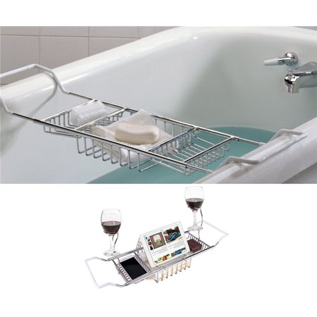 Knifun Bath Tub Caddy Over Bathtub Tray Stainless Steel Racks Organizer with Adjustable 24.4 -33.46in Extending Bars, Wine Glass and Universal Cup Holder, Book (Expandable Bathtub Caddy)
