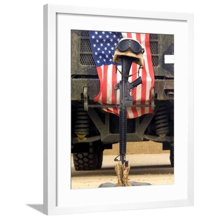An M16-A2 Service Rifle, a Pair of Boots And a Helmet Stand in Tribute To a Fallen Soldier Framed Print Wall Art By Stocktrek Images ()