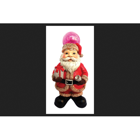 Alpine LED Santa/Bear Statues Christmas Decoration Multicolored Polyresin 12 in. H x 6-5/16 in.