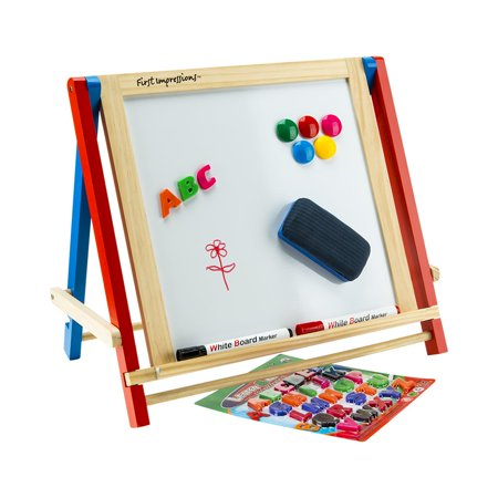 First Impressions Children's Wooden Tabletop Travel Art Easel with Magnetic Chalkboard Magnetic Whiteboard, Includes Marker, Chalk and Letter Magnets Accessory Pack - Chalkboard Letters