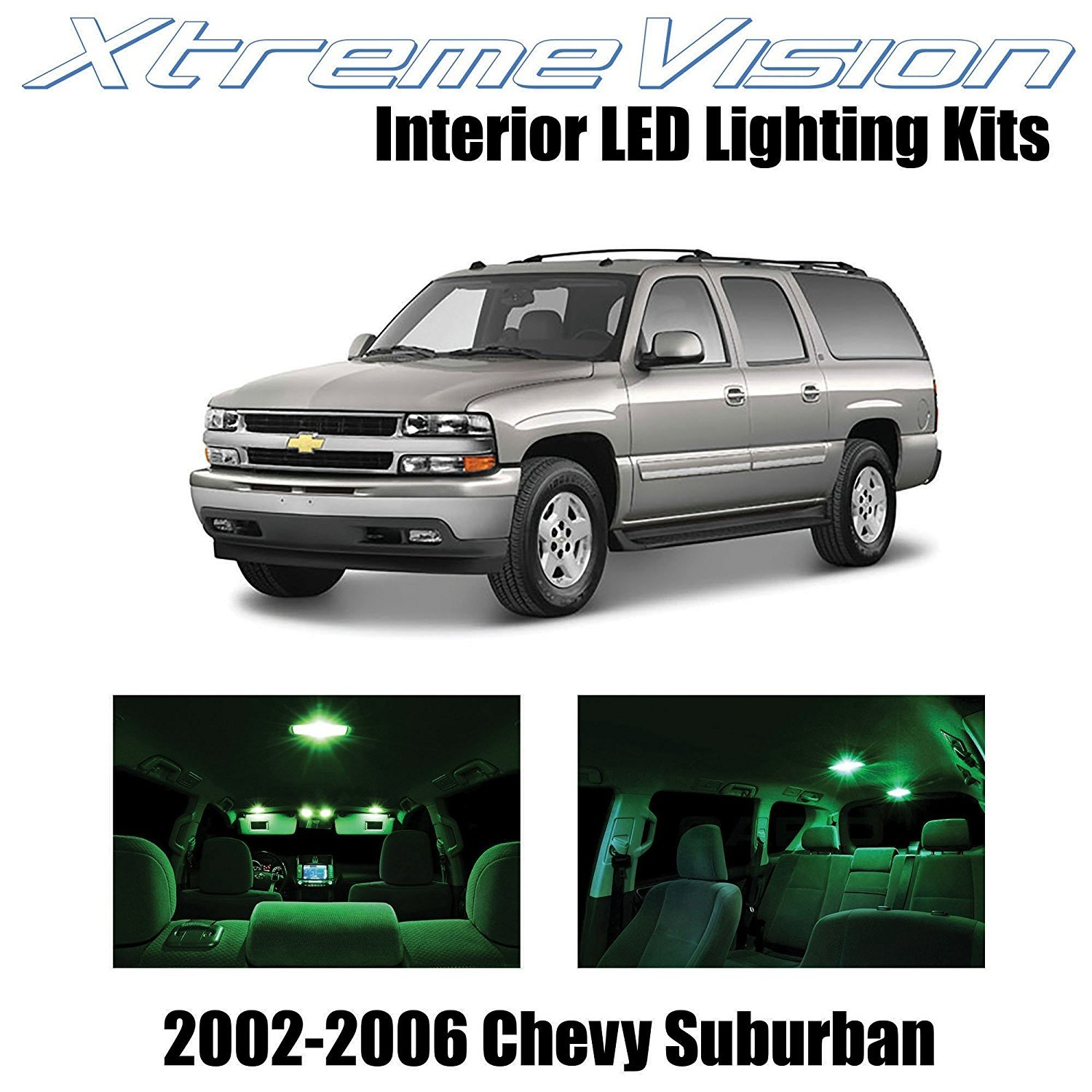 XtremeVision LED for Chevy Suburban 2002-2006 (10 Pieces) Green Premium Interior LED Kit Package + Installation Tool