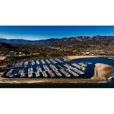 Bay Harbor Marina (LAMINATED POSTER Santa Barbara Harbor Marina Ships Bay California Poster Print 24 x 36)