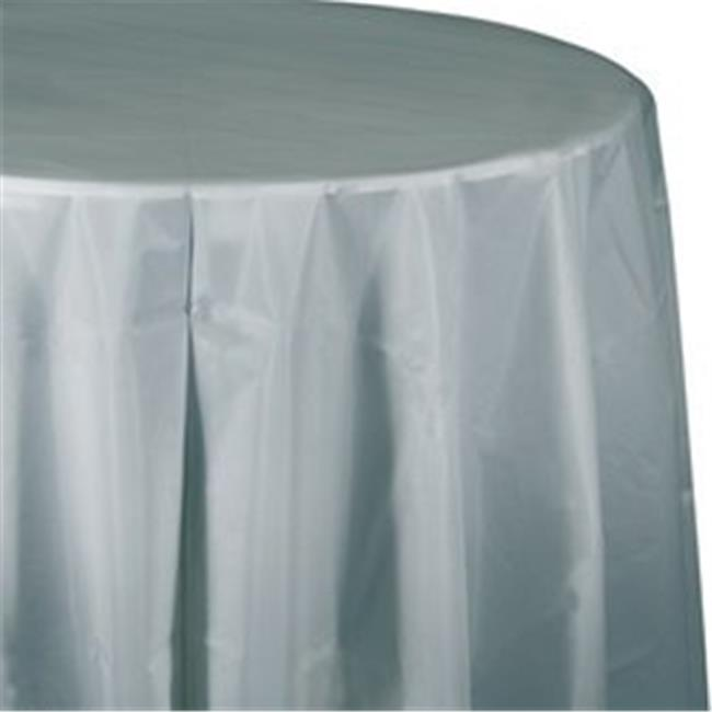 CPC 82PCNB 82 in. Round Disposable Plastic Table Cover, Navy Blue
