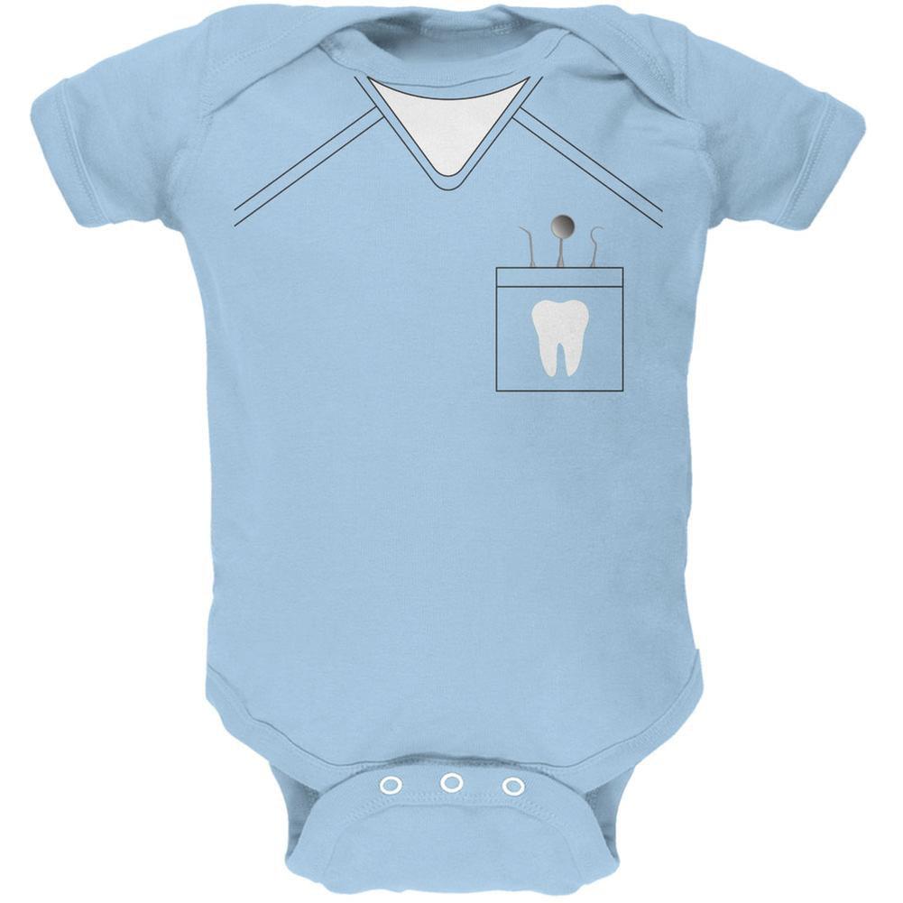 Halloween Dentist Scrubs Costume Light Blue Soft Baby One Piece