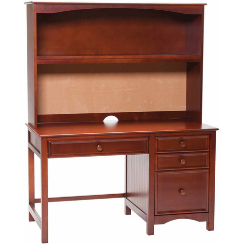 Bolton Furniture Wakefield Pedestal Desk with Hutch Set, Cherry
