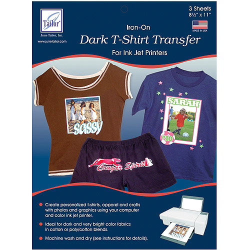 June Tailor 8-1/2-Inch by 11-Inch Dark T-Shirt Inkjet Transfers, 3-Pack Multi-Colored