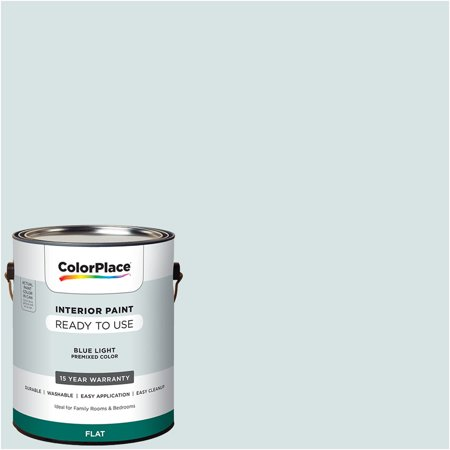 ColorPlace Pre Mixed Ready To Use, Interior Paint, Blue Light, Flat Finish, 1 (Best Way To Wash Walls With Flat Paint)