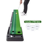 Indoor Golf Putting Practise Mat – Auto Ball Return Function – Life-like Portable