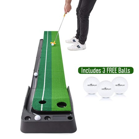 Indoor Golf Putting Practice Mat – Auto Ball Return Function – Life-Like Portable Golf Court Real-Like Grass – Extra-Long Golf Mat – 3 Bonus