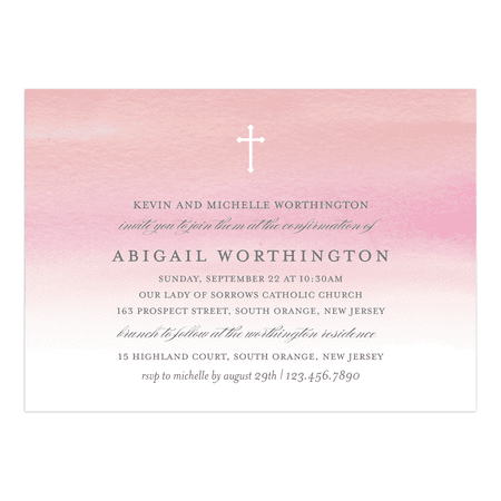 Personalized Confirmation Invitation - Watercolor Confirmation - 5 x 7 Flat
