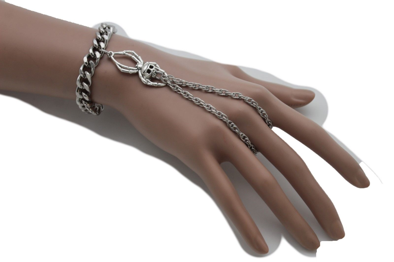 Sterling Silver Ring Bracelet bohemian style body bracelet hand chain bracelet with adjustable wrist
