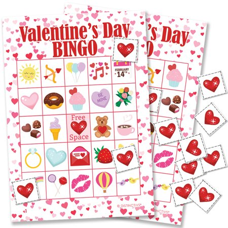 Bingo Game Cards (Valentines Day Bingo for 24 Players - Valentines Day Party Game for Kids - 24 Bingo Cards with)