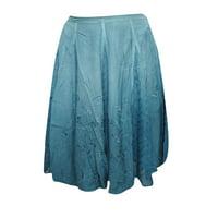 Mogul Women's Short Skirt Blue Embroidered Rayon Boho Style Skirts