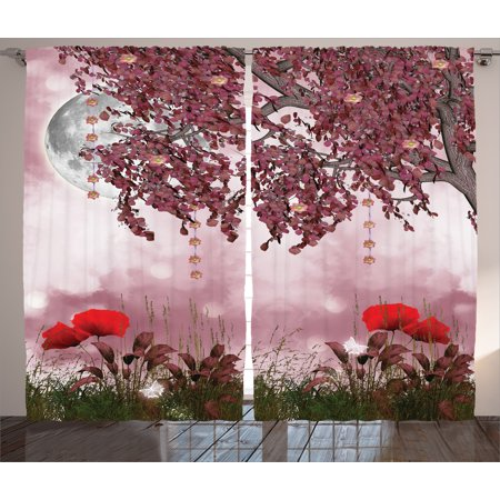 - Tree Curtains 2 Panels Set, Dream Garden with Poppies Full Moon and Floral Tree Branches Fairy Tale Paradise Scenery, Living Room Bedroom Decor, Mauve Red, by Ambesonne