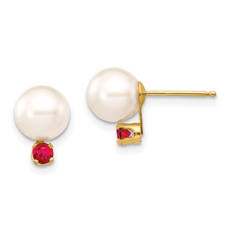 97fcd5ca6 14k Yellow Gold 8mm White Round Freshwater Cultured Pearl Red Ruby Post Stud  Earrings Ball Button