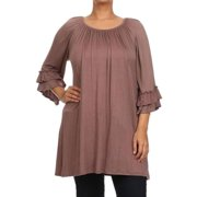MOA Collection Plus Size Women's Trumpet Top HOTPINK-XLARGE