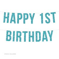 Baby Blue Boy's Happy 1st Birthday Real Glitter Paper Pennant Hanging Banner Includes String No Assembly Required