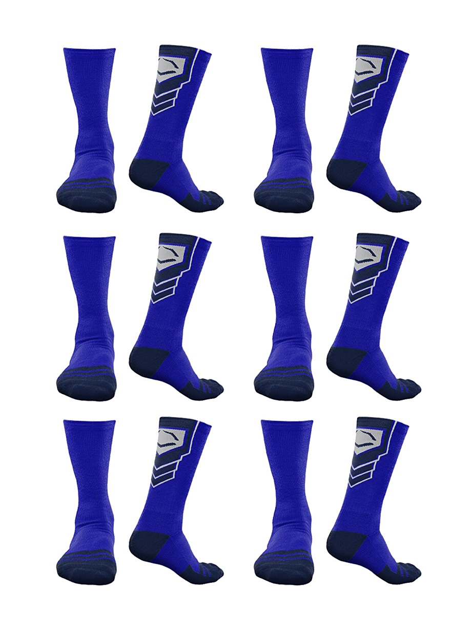 EvoShield Performance Crew Socks Pair (Royal w/ Navy Blue, 6-Pack)