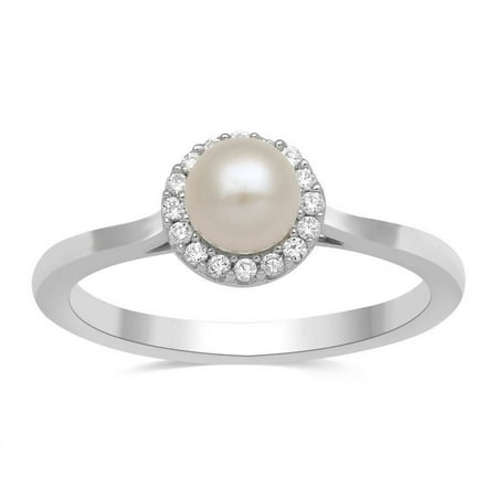 Fresh Water Pearl and White CZ Sterling Silver Cushion-Framed Ring