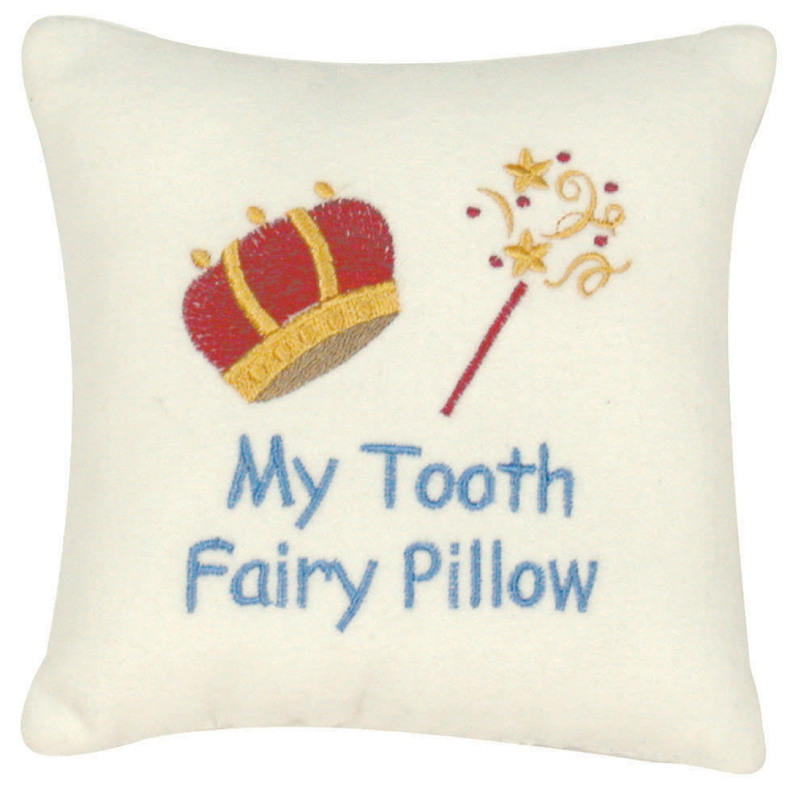 Little Boy My Tooth Fairy King Pillow Velvet Embroidered with Pocket