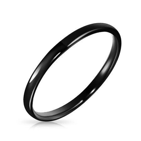 Thin Stackable Minimalist Simple Dome Black Couples Titanium Wedding Band Ring For Men For Women Comfort Fit 2MM Black Titanium Tension Rings