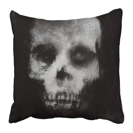 ARTJIA White Face Scary of Skull Horror Spooky Halloween Black Bone Canvas Danger Dark Dead Death Devil Pillowcase 16x16 inch](Black And White Halloween Faces)
