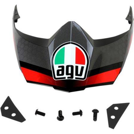 Agv Visor - AGV AX-8 EVO DS Dual Sport Replacement Peak/Visor Black/Silver/Red