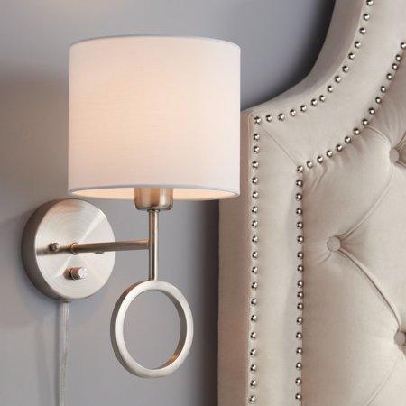 360 lighting amidon brushed nickel drop ring plug-in wall lamp