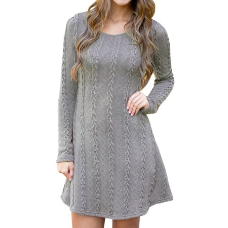 Womens Long Sleeve Mini Dress Casual Knitted Sweater Pullover Cable Party Jumper Tunic Round Neck (Misses Pullover Dress)