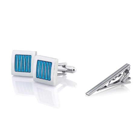 Blue Print Cufflinks - Men's Blue Silver Square Cufflinks + Silver Tie Clip