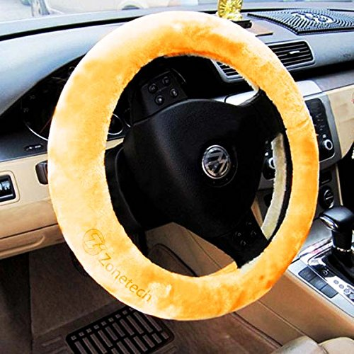 Zone Tech Plush Stretch  On Vehicle Steering Wheel Cover Beige Car Wheel Protector