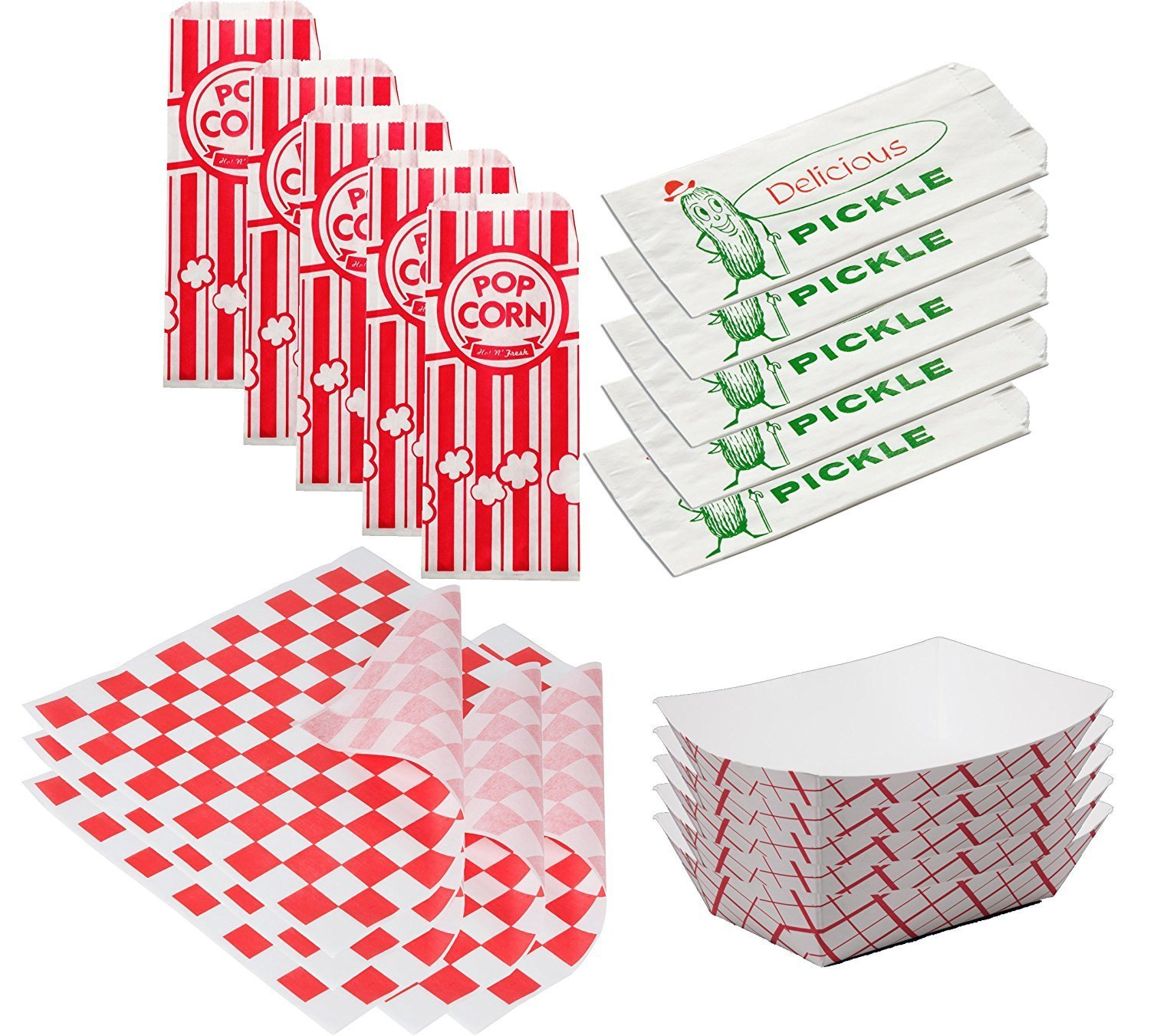 Popcorn Bags 50 Paper Food Tray & 50 Sandwich Wrap Paper Red Check + Pickle Bags Printed... by